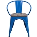 Metro Modern-Rustic Arm Chair in Blue + Wood - Front View