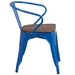 Metro Modern-Rustic Arm Chair in Blue + Wood - Side View