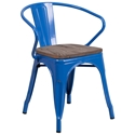 Metro Modern-Rustic Arm Chair in Blue + Wood