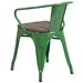 Metro Modern-Rustic Arm Chair in Green + Wood - Back View