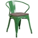 Metro Modern-Rustic Arm Chair in Green + Wood