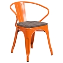 Metro Modern-Rustic Arm Chair in Orange + Wood