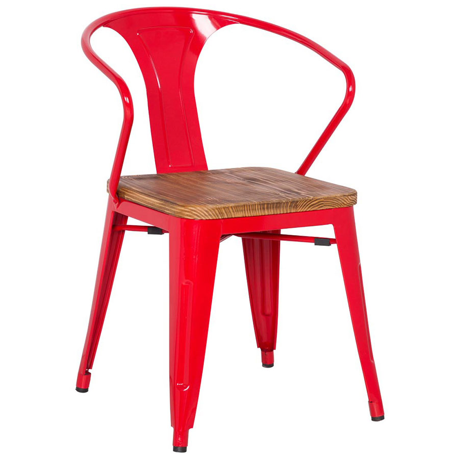 Metro Modern Red Cafe Arm Chair