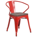Metro Modern-Rustic Arm Chair in Red + Wood
