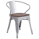 Metro Modern-Rustic Arm Chair in Silver + Wood