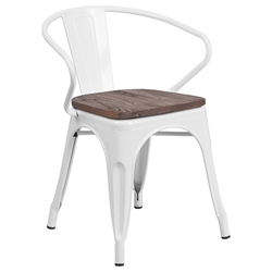 Metro Modern-Rustic Arm Chair in White + Wood