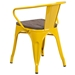 Metro Modern-Rustic Arm Chair in Yellow + Wood - Back View