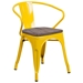 Metro Modern-Rustic Arm Chair in Yellow + Wood
