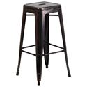 Metro Backless Black Antique Gold Industrial Modern Bar Stool