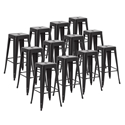 Metro Black Metal Backless Contemporary Bar Stool in a Set of 12