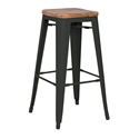 Metro Modern Backless Black Bar Stool