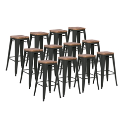 Metro Black + Wood Contemporary Backless Bar Stools Cheaper by the Dozen