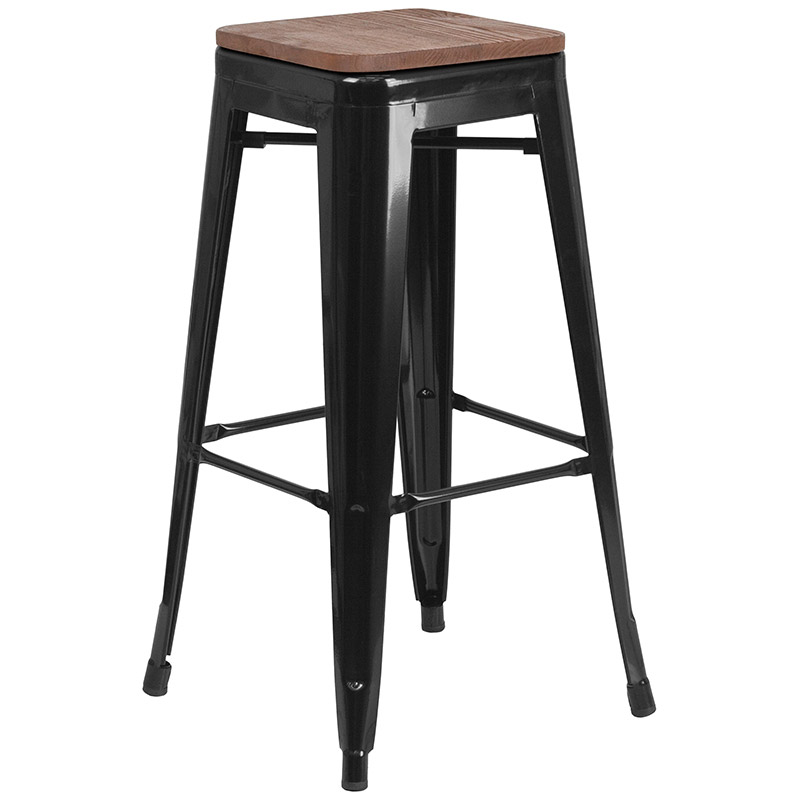 Metro Modern-Rustic Backless Bar Stool in Black + Wood