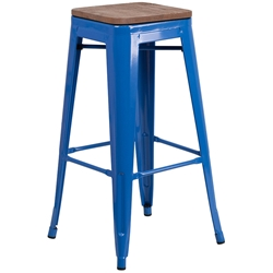 Metro Modern-Rustic Backless Bar Stool in Blue + Wood
