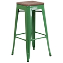 Metro Modern-Rustic Backless Bar Stool in Green + Wood