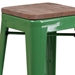 Metro Modern-Rustic Backless Bar Stool in Green + Wood - Seat Detail