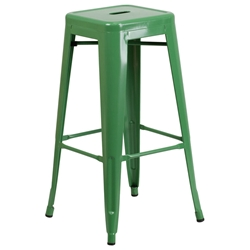 Metro Backless Green Industrial Modern Bar Stool