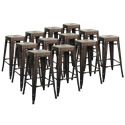 Metro Backless Gun Metal + Wood Modern Bar Stool Cheaper by the Dozen