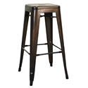 Metro Gun Metal Backless Modern Bar Stool