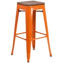 Metro Modern-Rustic Backless Bar Stool in Orange + Wood