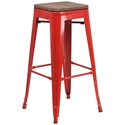 Metro Modern-Rustic Backless Bar Stool in Red + Wood