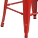 Metro Modern-Rustic Backless Bar Stool in Red + Wood - Leg Detail