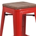 Metro Modern-Rustic Backless Bar Stool in Red + Wood - Seat Detail