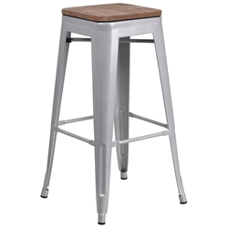 Metro Modern-Rustic Backless Bar Stool in Silver + Wood