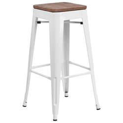 Metro Modern-Rustic Backless Bar Stool in White + Wood