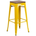 Metro Modern-Rustic Backless Bar Stool in Yellow + Wood
