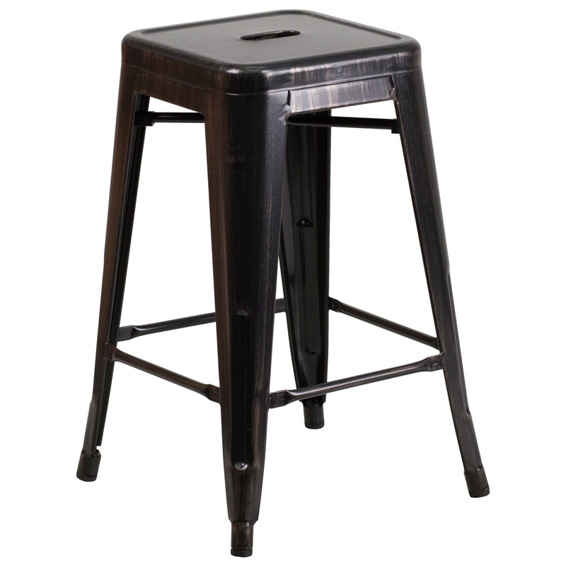 Metro Backless Black Antique Gold Industrial Counter Stool