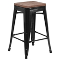 Metro Backless Counter Stool in Black + Wood