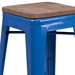Metro Backless Blue Industrial Modern Counter Stool - Seat Detail