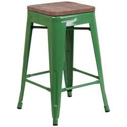 Metro Backless Green Industrial Modern Counter Stool