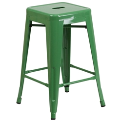 Metro Backless Green Industrial Counter Stool