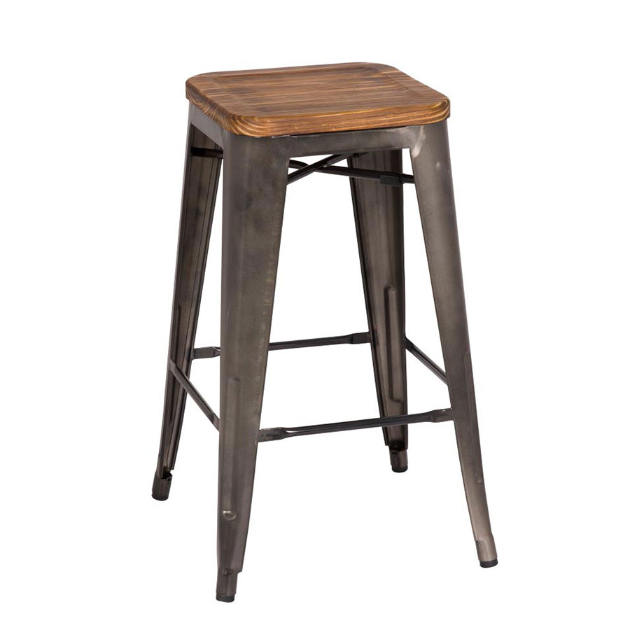 metro backless gun metal counter stool  eurway modern - metro modern backless gun metal counter stool