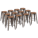 Metro Gun Metal + Wood Contemporary Backless Counter Stool Cheaper by the Dozen