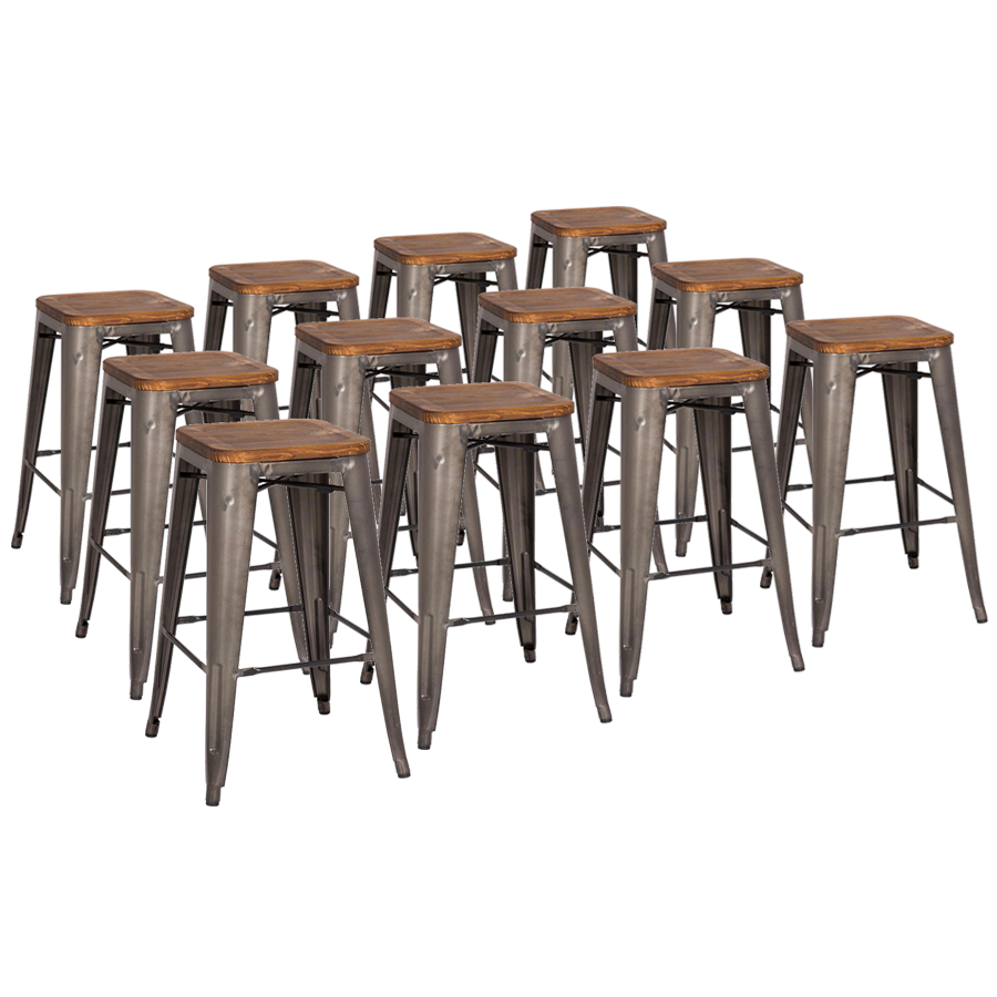 metro gun metal wood backless counter stool cheaper by the dozen