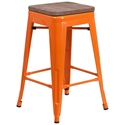 Metro Backless Counter Stool in Orange + Wood