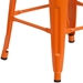 Metro Backless Counter Stool in Orange + Wood - Leg Detail