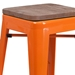 Metro Backless Counter Stool in Orange + Wood - Seat Detail