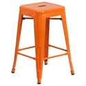 Metro Backless Orange Industrial Counter Stool