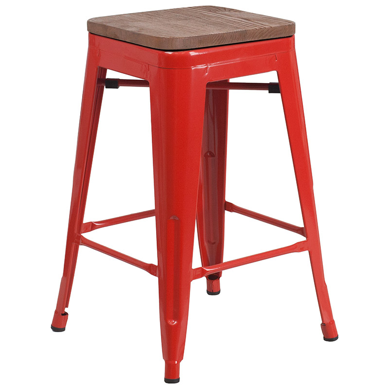 Metro Backless Counter Stool in Red + Wood