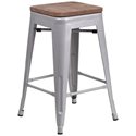 Metro Backless Silver Industrial Modern Counter Stool