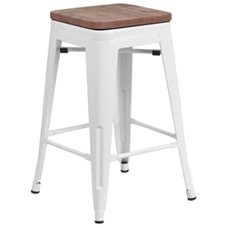 Metro Backless White Industrial Modern Counter Stool