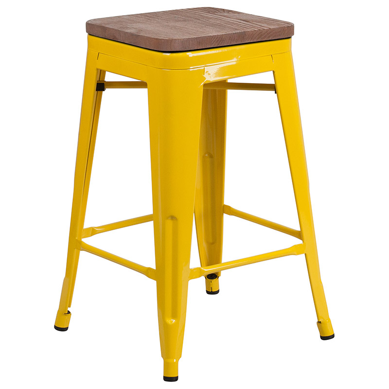 Metro Backless Yellow Industrial Modern Counter Stool