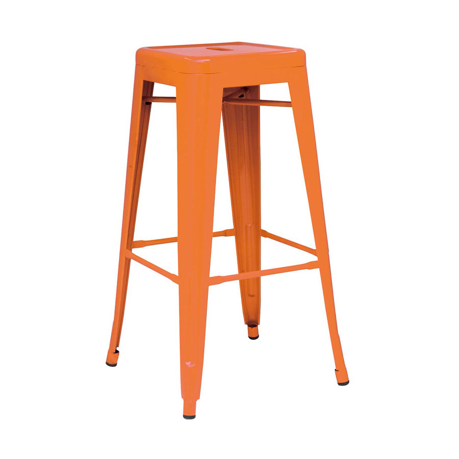 Metro Backless Orange Metal Bar Stool
