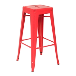 Metro Modern Backless Red Metal Bar Stool
