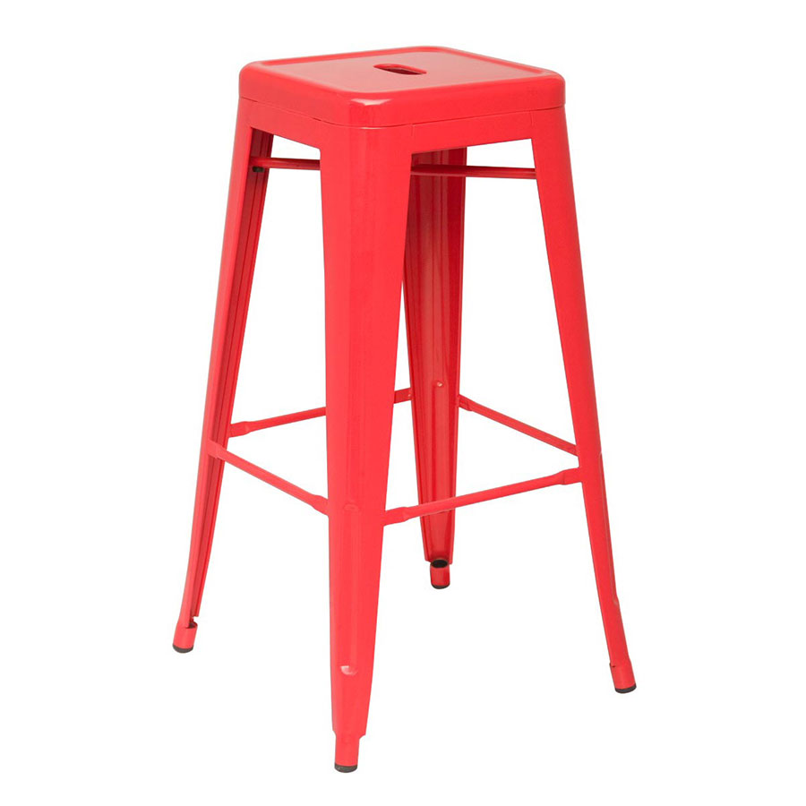 Metro Modern Backless Metal Red Counter Stool
