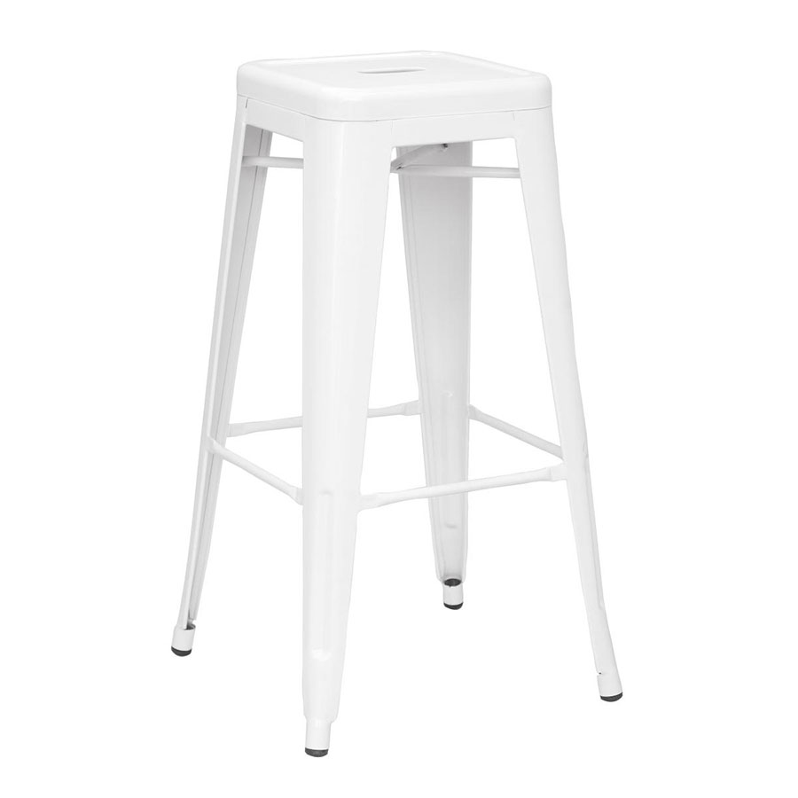 metro modern backless metal white counter stool